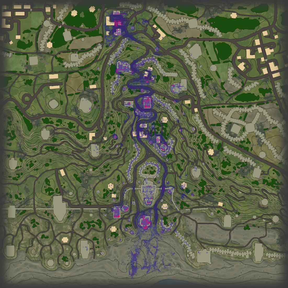 Синие и фиолетовые зоны — места наиболее ожесточённых столкновений